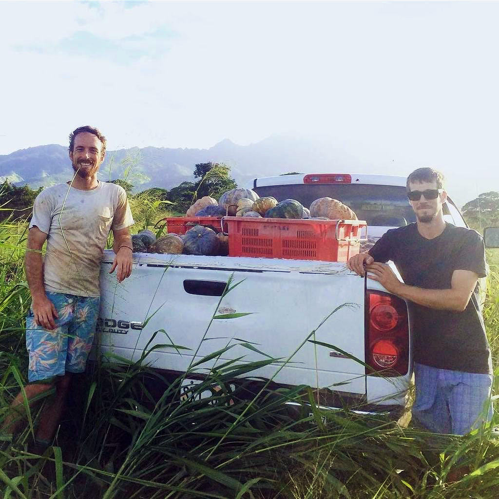 Meet Rob and Hunter with Counter Culture in Waialua with their truck full of fresh harvest from the farm