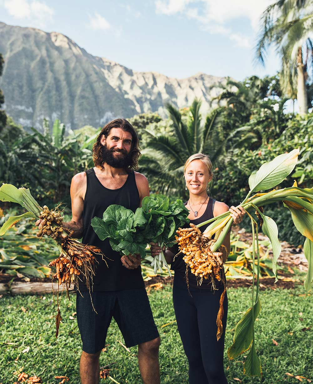 Meet Paul and Kelly at Yogarden Hawaii in Waimanalo with their freshly harvested organic turmeric root