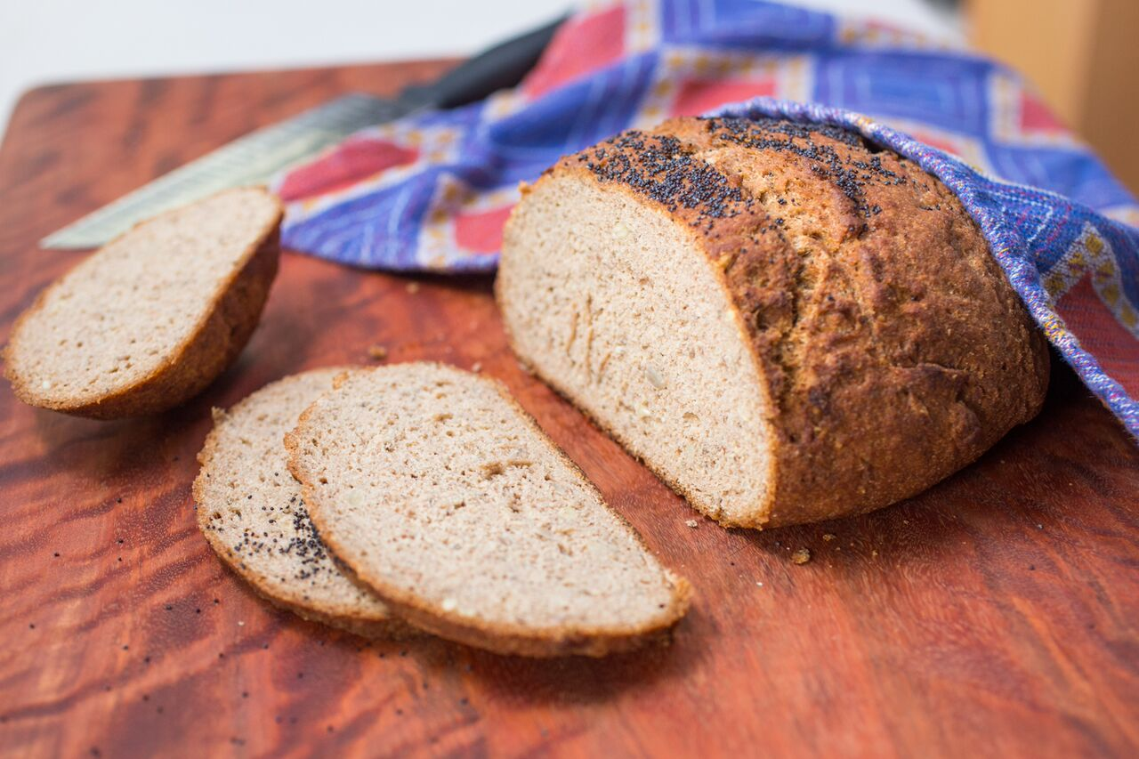 Ancient Grain Bread Loaf (Boule) with hearty, protein packed grains. Vegan, Gluten Free, Sugar Free
