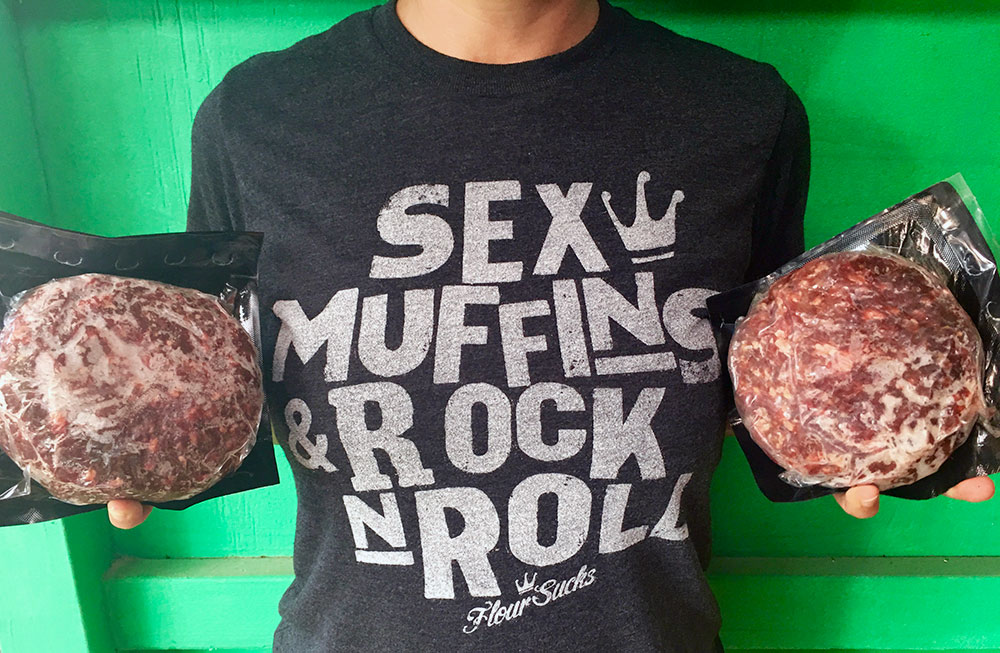 "Friday Casual wear in our ""Sex, Muffins, and Rock & Roll T-Shirt representing North Shore ground beef. Practicing Sustainable practices"